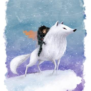 Game of Thrones - Ghost and Jon Snow